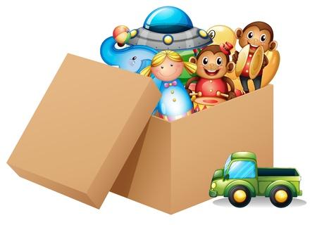 Ilustración de una caja llena de juguetes diferentes sobre un fondo blanco Ilustración de vector