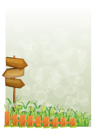 fence post: Illustration of a stationery with wooden arrows and fence on a white background