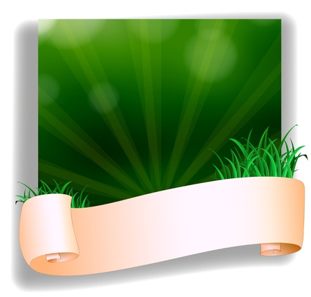 Illustration of an empty template in front of the green grass on a white background Vector