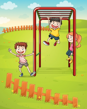 young group: Illustration of the three kids playing in the park