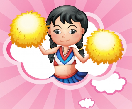 cheer leader: Ilustraci�n de una nube con una porrista