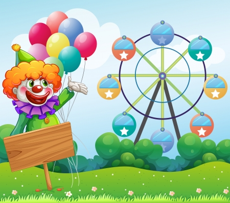 Illustration of a clown with balloons at the back of an empty board Vector