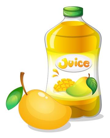 breakable: Illustration of a bottle of mango juice on a white background