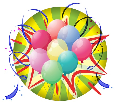 spinning wheel: Illustration of a spinning wheel with balloons and confetti on a white background