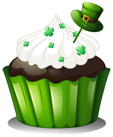 feast of saint patrick: Illustration of a mouth-watering chocolate cupcake on a white background Illustration