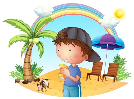 Illustration of a young boy at the beach with his pet on a white background Vector