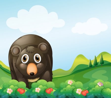 Illustration of a dark gray bear in the garden