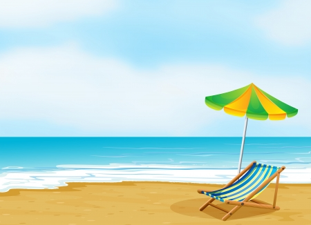 tranquil scene: Illustration of a relaxing beach with an umbrella and a foldable bed Illustration