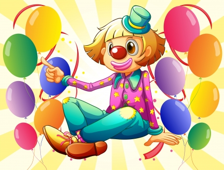 Illustration of a female clown sitting in the middle of the balloons Vector