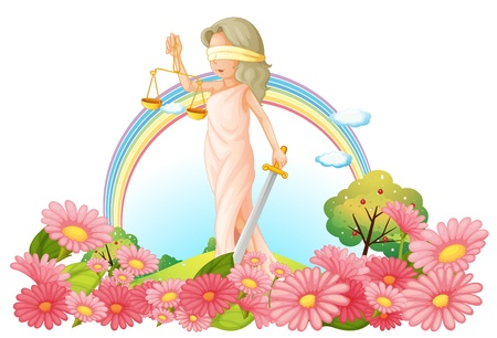 Illustration of a woman with a weighing scale in the garden on a white background Vector