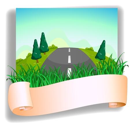 gran angular: Ilustraci�n de una carretera en la parte posterior de la se�alizaci�n en un fondo blanco