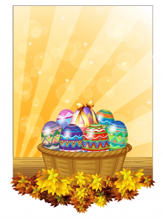 kids weaving: Illustration of the easter eggs in a basket on a white background