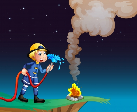 red smoke: Illustration of a fireman holding a water hose