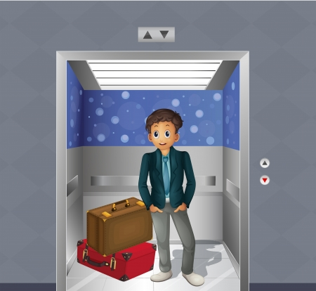 establishments: Illustration of a boy with two travelling bags inside the elevator