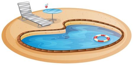 Illustratie van een zwembad op een witte achtergrond