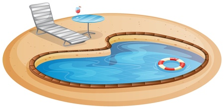 白い背景の上のプールのイラスト