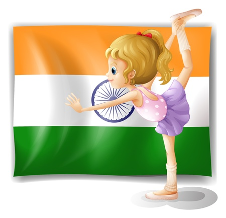 ballet child: Illustration of a ballet dancer performing in front of the Tajikistan flag on a white background