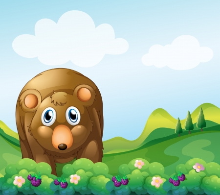 Illustration of a brown bear at the garden Vector