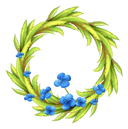 creative artist: Illustration of a round border with blue flowers on a white background