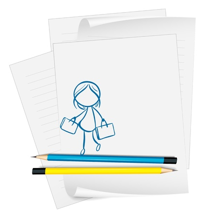 Illustration of a paper with a drawing of a girl holding two bags on a white background Stock Vector - 18859564