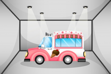 Illustration of a pink ice cream car inside the garage Vector