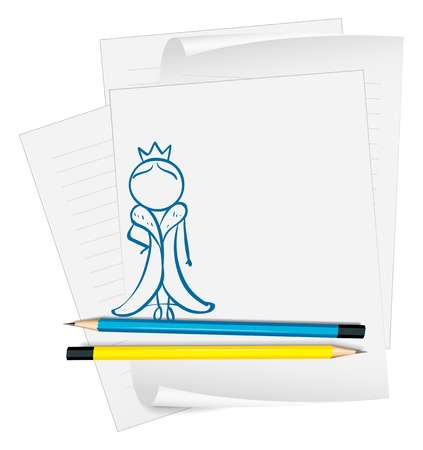 Illustration of a paper with a sketch of a queen on a white background Stock Vector - 18859566