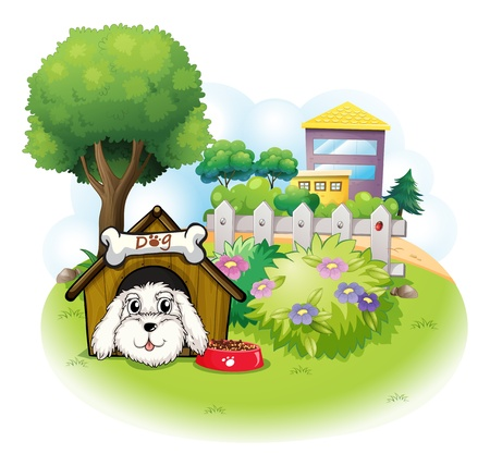 doghouse: Illustration of a white puppy inside a doghouse on a white background