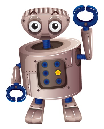 controll: Illustration of a brown robot on a white background Illustration