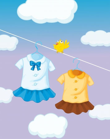 school girl uniform: Illustration of a yellow bird near the hanging uniforms