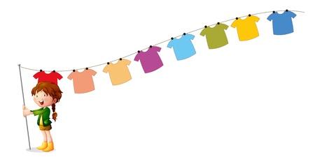 ropa colgada: Ilustración de una muchacha que sostiene un palo con colgar la ropa en un fondo blanco