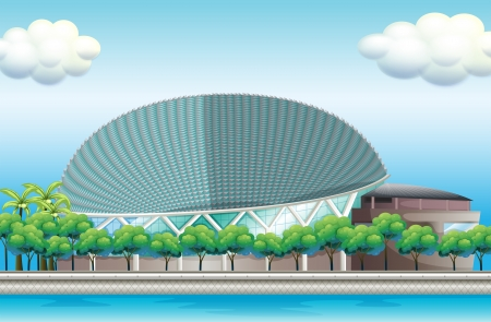 stadia: Illustration of a stadium surrounded with trees