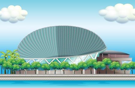 surrounded: Illustrazione di uno stadio circondato da alberi Vettoriali