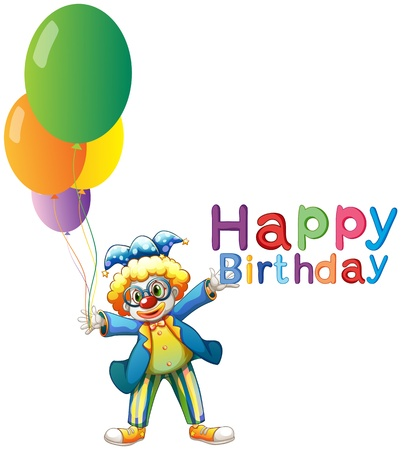 occassion: Illustration of a clown with balloons and a Happy Birthday greeting on a white background