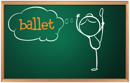 Illustration of a board with a sketch of a ballet dancer on a white background Vector