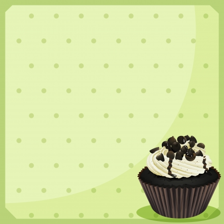 Illustration of a special paper with dots and a cupcake Stock Vector - 18859614