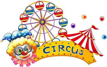 amusement park rides: Illustration of a clown beside a circus signboard on a white background Illustration