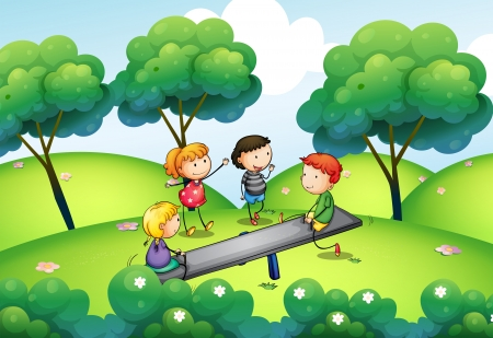 Illustration of a group of kids playing at the top of the hill Vector