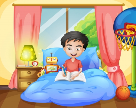 Illustration of a boy writing on his bed