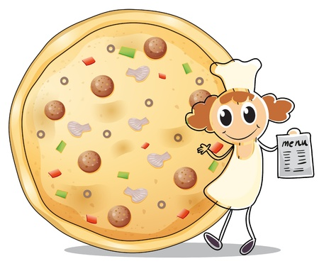 Illustration of a chef in front of a pizza pie on a white background Vector