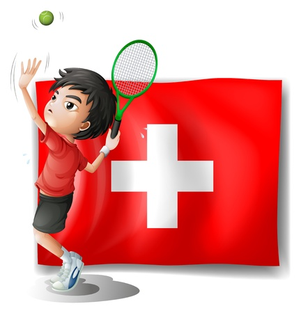 camaraderie: Illustration of a tennis player in front of the Switzerland flag on a white background