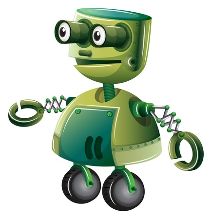 invention: Illustration of a green robot on a white background