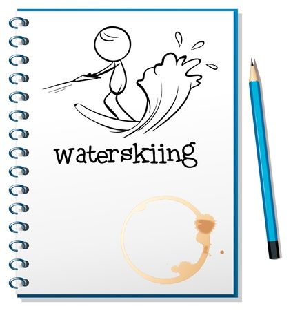 Illustration of a notebook with a sketch of a person waterskiing on a white background Stock Vector - 18859570