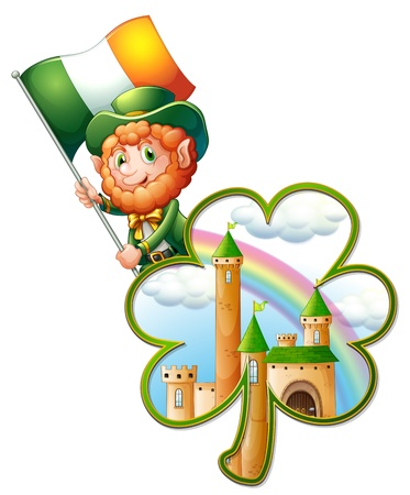 ireland flag: Illustration of a castle inside the clover plant and an old man with the Ireland flag  on a white background