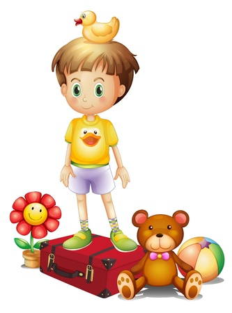 soft toy: Illustration of a boy above the red box with his different toys on a white background