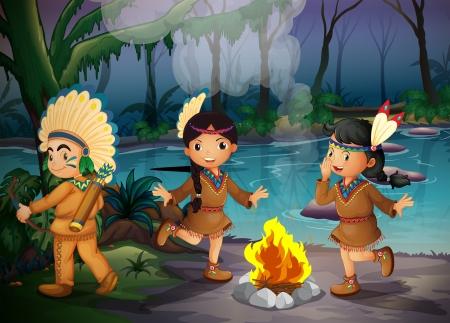 lägereld: Ilustration av de tre indiska barnen inne i skogen Illustration