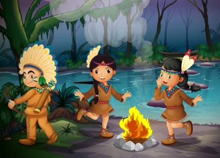 Ilustration of the three Indian kids inside the forest Vector