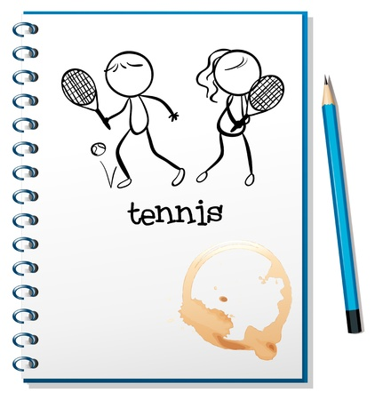 Illustration of a notebook with a sketch of a boy and a girl playing tennis on a white background Stock Vector - 18859576