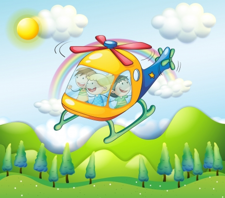 hover: Illustration of a helicopter with kids