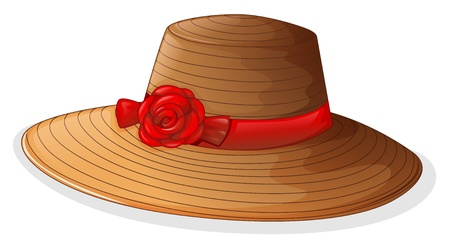 beach wear: Illustration of a brown fashion hat with a red ribbon on a white background