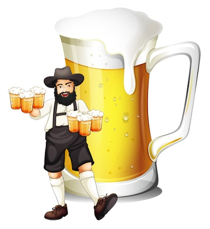 Ilustración de un hombre con un vaso lleno de cerveza sobre un fondo blanco Foto de archivo - 18859672